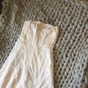 White strapless sun dress